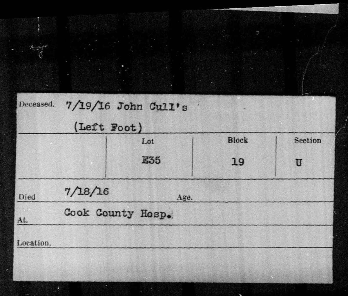 Burial Cards: John's leftfoot